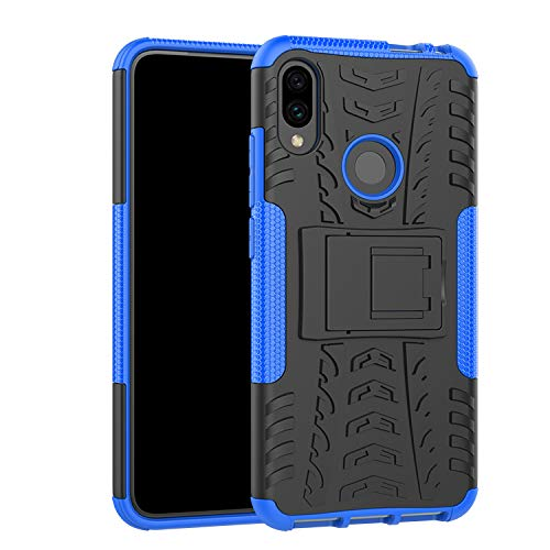 Xiaomi Redmi Note 7 Case, Xiaomi Redmi Note 7 Pro Case, Shockproof Heavy Duty Combo Hybrid Rugged Dual Layer Armor with Kickstand Grip Case Cover for Xiaomi Redmi Note 7 (Blue)
