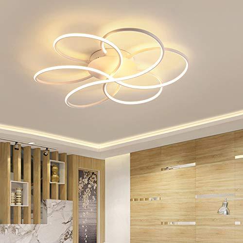 Bradoner Lámpara de techo LED de moda para sala de estar, dormitorio, comedor, sala de estudio, decoración, diámetro de 60 cm, luz cálida (color: blanco)