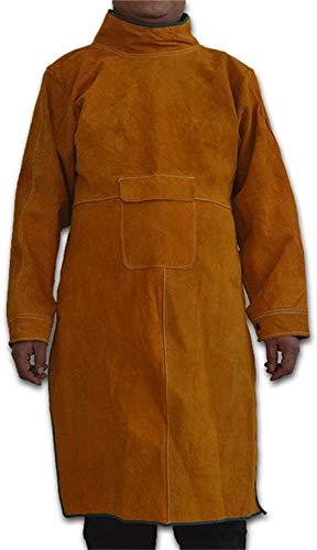 Schweißschürze aus Rindsleder, hitzebeständig, verschleißfeste Kleidung, pannensichere Arbeitskleidung, Schreiner-Schürze für Schweißen, Bauarbeiter, langlebiges Schweißen