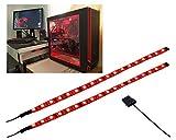 LEDdess LED Light Strip Computer Lighting RED, Magnetic, Molex Connector, 2pcs LED Strip for PC Case Lighting Kit...
