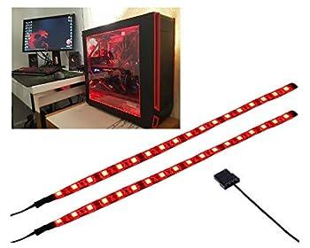 LEDdess LED Light Strip Computer Lighting RED Magnetic Molex Connector 2pcs LED Strip for PC Case Lighting Kit  30cm,18leds,S Series
