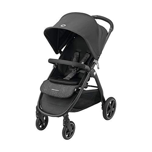 Bébé Confort Gia Poussette tout-terrain avec assise confortable, Pliage compact, de la naissance à 4 ans environ (0-22 kg), habillage pluie et grand panier inclus, Nomad Black