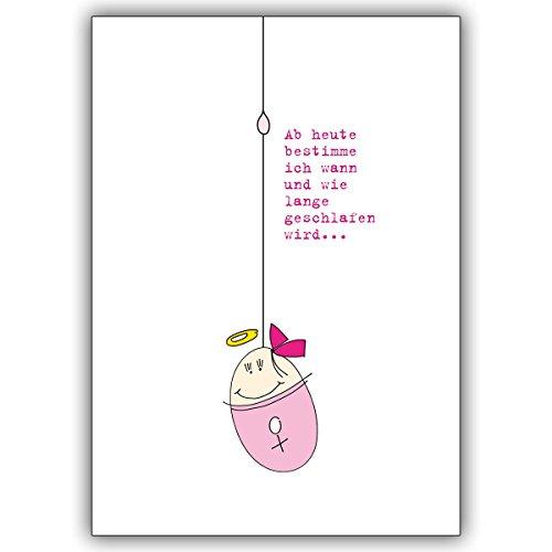 Wenskaarten met inkoopkorting: Grappige roze babykaart voor de geboorte van een meisje met heilige bon en spreuk • mooie welkom, wenskaart, felicitatiekaart voor de geboorte voor moeder en kind 10 Grußkarten