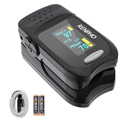 Pulsoximeter, RENPHO Oximeter Fingerpulsoximeter zur Messung der Sauerstoffsättigung SpO2 PI und des Puls mit Alarm Funktion, Pulsoximeter mit OLED-Display und Trageband für Erwachsene und Kinder