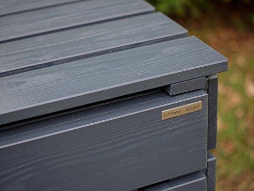 3er Mülltonnenbox / Mülltonnenverkleidung 120 L Holz, Deckend Geölt Anthrazit Grau - 3
