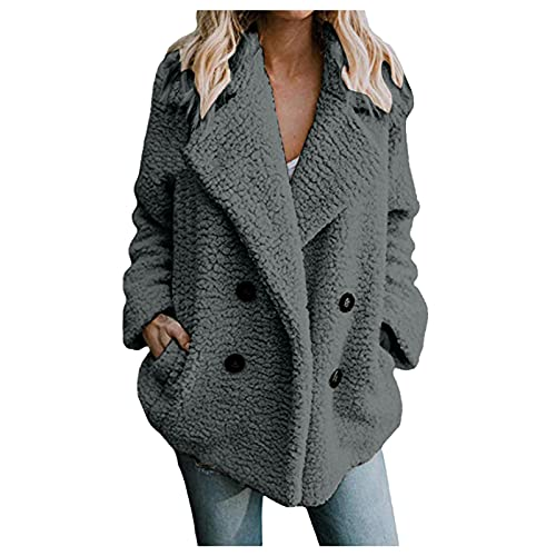 Vexiangni Pianshanzi - Chaqueta de entretiempo para mujer, de forro polar, con capucha, larga, ajustada, elegante, monocolor, tallas grandes, otoño, gris, XL