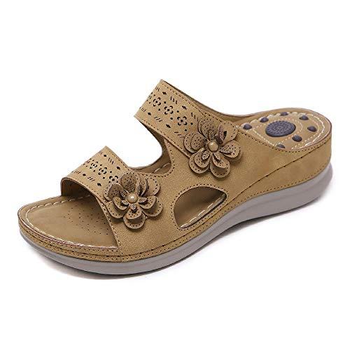 NOBRAND 2020 Sandalias Antideslizantes de Masaje de Flores Europeas y Americanas Sandalias de Gran tamaño Retro cuña Zapatillas cómodas de tacón Alto
