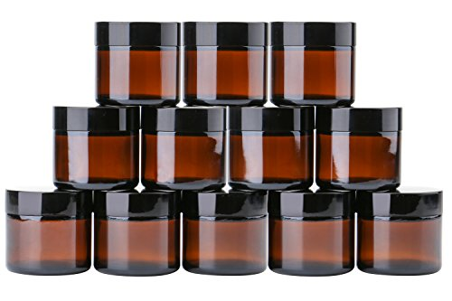 2 oz Round Glass Jars (12 Pack) - Empty Cosmetic Containers with Inner Liners, black Lids and Glass Sample Jars with lables (Amber) by THETIS Homes