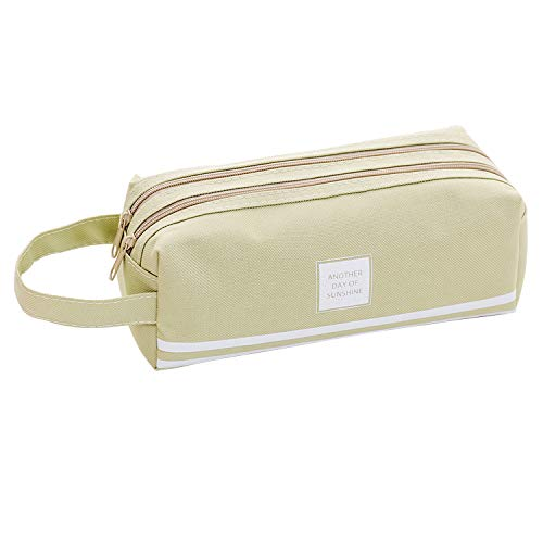 Beloca Pencil Case Large Capacity Student Stationery Pouch Pen Bag with Double Zipper Closure Office Pen Holder Organizer Stationery Bag Cosmetic Bag (Green)