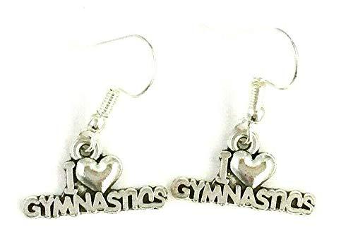 I Love Gymnastics Gymnast Earrings on Sterling Silver Hooks