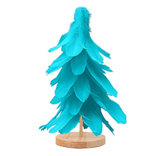 VEFSU LED Lighted Feather Christmas Tree Decor | Decorate Home Garden Wedding Birthday Party Festival Indoor Outdoor, 12 Inch Blue(A)