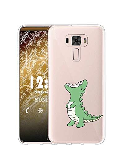 Sunrive Kompatibel mit Asus Zenfone 3 ZE520KL Hülle Silikon, Transparent Handyhülle Schutzhülle Etui Hülle (TPU Dinosaurier)+Gratis Universal Eingabestift MEHRWEG
