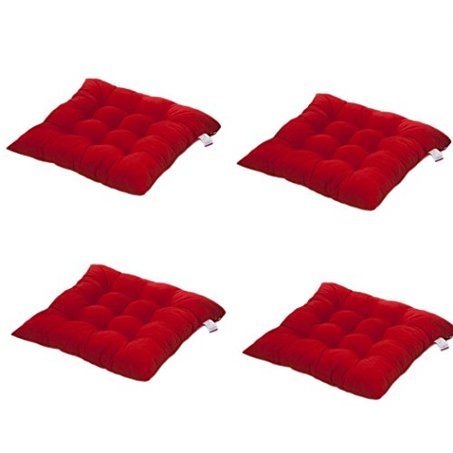 Worsendy Cuscino Sedia 40x40, Set da 4 Cuscini da Sedia Trapuntati,Morbido Cuscino per Sedia Cuscino Sedia Cucina da Giardino 40 x 40 x 8 cm,Disponibile in Tanti Colori Diversi (Rosso)