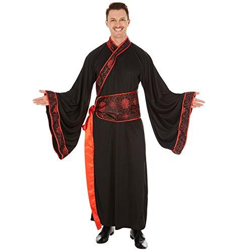 TecTake Disfraz de Chino Asiático para Hombre | Kimono Largo | Incl. Cinturón (S | No. 301040)