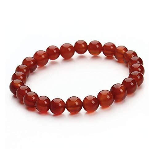 ZYQXB - Pulsera de piedra de moda (color de metal: ágata roja)