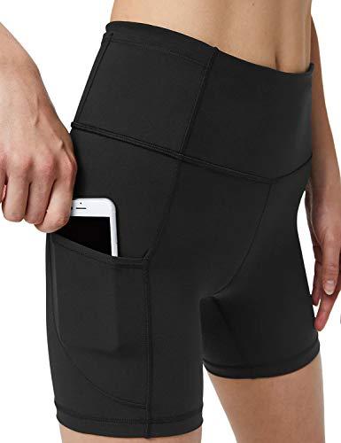 Blooming Jelly Womens High Waisted Biker Shorts Compression Yoga Shorts Tummy Control Pockets Running Tights (Medium, Black)