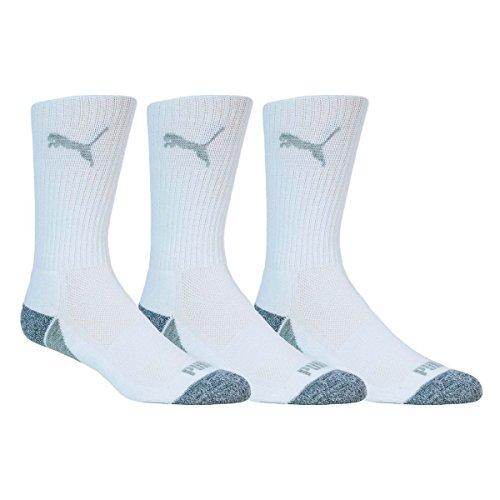 Puma Golf Men's Pounce Crew Sock (3 Pair), White, Size 9-12