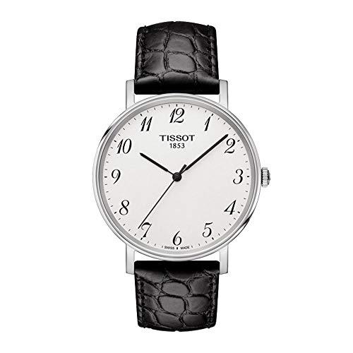 Tissot Herren Analog Quarz Everytime Medium Armbanduhr mit Leder Armband T1094101603200