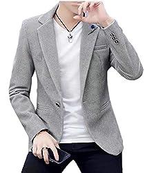 security Mens One Button Slim Fit Solid Thick Fleece Velvet Dress Blazer Coat