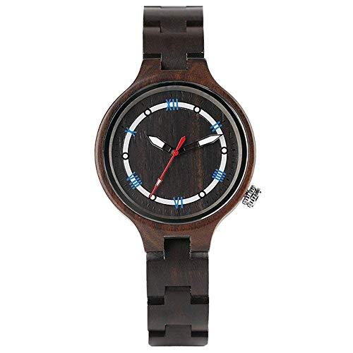 Reloj de madera negro y marrón para mujer, pulsera de madera, brazalete fino, reloj analógico de cuarzo, color negro