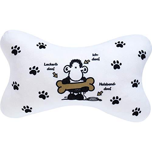 Sheepworld 45707 Plüschkissen Hundeknochen, Kissen Hund in Knochenform, 35 cm x 20 cm, Weiß