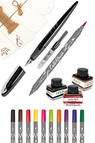 ONLINE Kalligrafie Master Set Schriftkunst Set in Bamboo Box Schönschreibfüller Air Black Calli.Brush Handlettering Fasermaler Grußkarten Set 3x Tintenglas Konverter