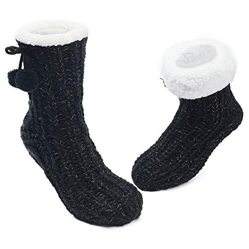 MaaMgic 1 Paar Kuschelsocken mit ABS Sohle, 20+ Stils Hüttensocken | Warme Damen Socken | Wintersocken mit Anti Rutsch Noppen, dicke Haussocken MEHRWEG Bommel Schwarz