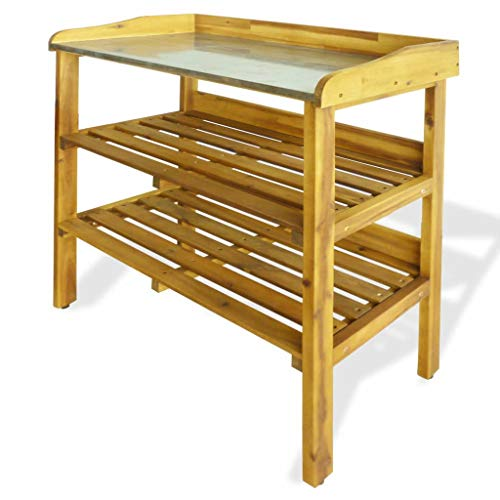 vidaXL Potting Bench with 2 Shelves,Wooden Garden Potting Bench,Outdoor Garden Potting Bench Potting Table Work Bench,for Garages, Sheds,Organize Garden Equipment Supplies,Solid Acacia Wood and Zinc