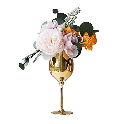 NYKK Künstliche Blume Licht Einfache Künstliche Blume mit Vase Satz, Wohnzimmer-Hochzeit Gefälschte Blumen-Dekoration, Weinglas-Form-Vase Künstliche Blumen Ewige Blume