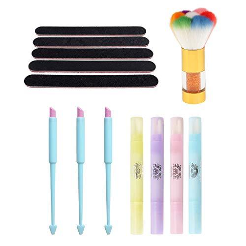Homyl Kit de Nettoyage de Ongles Pour Manucure Pédicure 3 PCS Lime à Ongles + Stylos de Correcteur + Brosse à Ongles + 5 Pc Panneau Emery