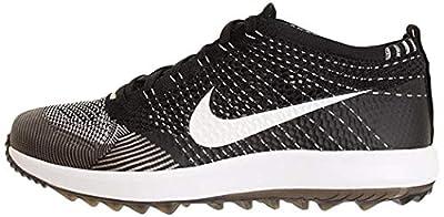 Nike Men's Flyknit Racer G Golf Shoes (7.5 M US, Black/White)