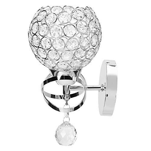 Agatige Lámpara de Aplique de Pared de Cristal, lámpara de Pared Redonda para cabecera, Accesorio de iluminación de Pared Moderno, Luces Decorativas de Pared para Sala de Estar(Plata)