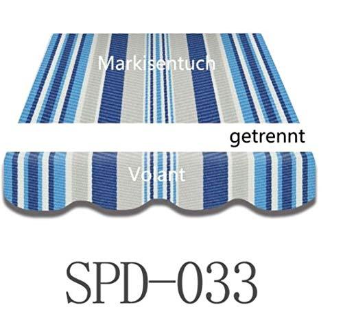 Home & Trends Preisgünstige Markisen Tuch Markisenbespannung Ersatzstoffe Maße 4 x 3 m Markisenstoffen Dunkel Grau OHNE Volant fertig genäht mit Bordeux (SPD016) (SPD033)