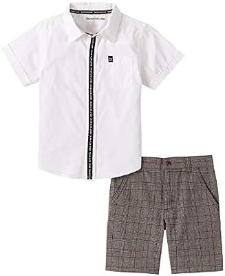Calvin Klein Boys' 2 Pieces Shirt Shorts Set, White/Grey, 5
