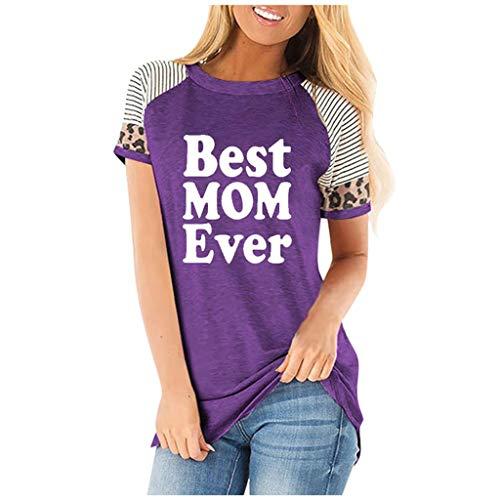 Damen Bluse, TEBAISE Damen Kurzarm T-Shirts 2020 Sommer Schwarz Casual Patchwork Lose Shirt Rundhals Kurzarm Oberteile Brief Gedruckt Tunika Gestreift Spleißen Leopard Tops