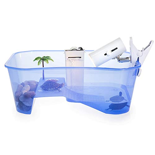 Total Turtle Tank Reptile Starter Kit Terrarium Includes Accessories with UV Basking Light Lamp + Water Filter + Decorative Palm Tree - Aquarium for Terrapin Turtles, Hermit Crab Habitat Crab Crayfish