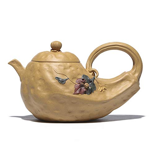LDYGTeaService Cinese Zisha Yixing Teiera, Fatta A Mano Vintage retrò Unico Originale Orientale Antico Design Materie Minerali di Argilla Viola Ceramica Pentola di tè,420Ml Giallo A Forma di Zucca