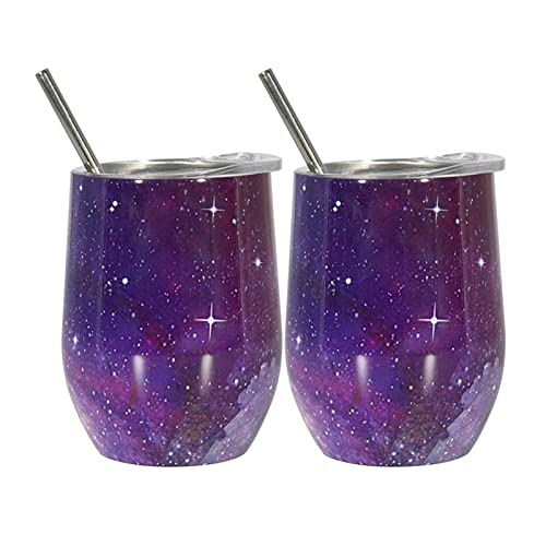 YWJFASHION 2 pz Cielo Stellato in Acciaio Inox Tazze di Vino Bicchieri con paglie per spazzole Pennello termossolato sottovuoto per caffè Cocktail di Vino (Capacity : 9oz, Colore : B)