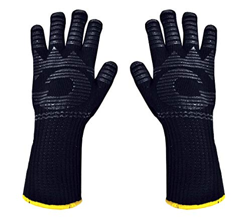 Heat Resistant Gloves - 480℉ Grilling Gloves For Fireplace - Barbeque Accessories For Kitchen - BBQ Gloves - Oven Mitt For Oven, 1 Pair, Dupont Nomex Heat Fiber is Made In USA