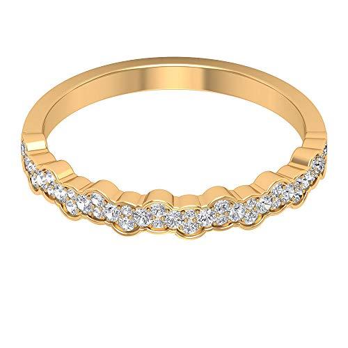 0,26 ct Antik Diamant Gold Eternity Ring, Einzigartige Brautjungfer Versprechen Ring, SGL zertifizierte Diamant Cluster Ehering, Statement Frauen Wellig Ring, 18K Gelbes Gold, Size:EU 50