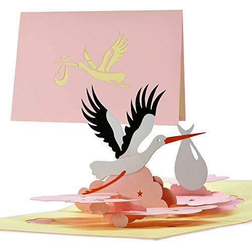 Karte zur Geburt Mädchen|Glückwunschkarte Geburt mit Pop up Vogel Storch für Mama und Papa|Gutschein Geschenk zur Geburt von Tochter Enkelin|G23.3