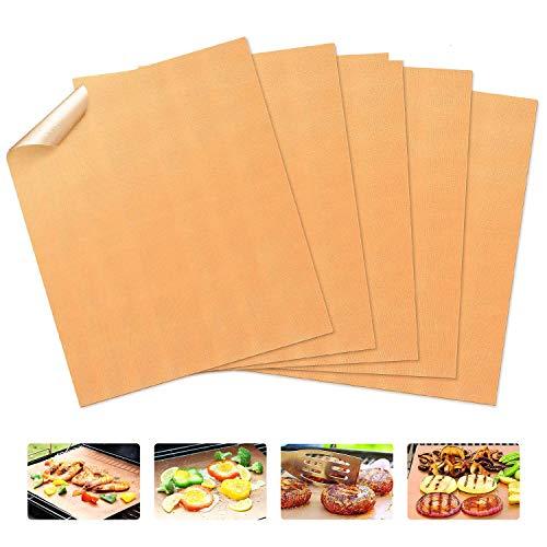 FABSELLER BBQ bakmatten zonder stok, herbruikbare BBQ grillmat bakken, op houtskool gas elektrische grillbarbecue, goud (5 Pack)