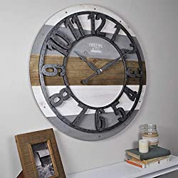 FirsTime & Co. Shabby Planks Wall Clock, 27, Rustic Gray