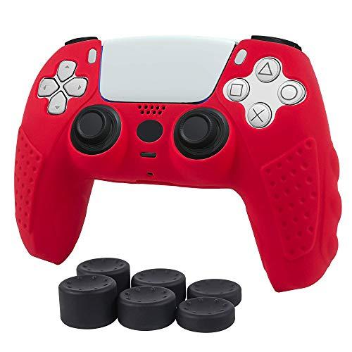 CHIN FAI für PS5 Controller Skin Case, rutschfeste Silikonhülle Schutzhülle für Sony Playstation 5 PS5 Controller Gamepad Game Zubehör mit 6 Daumengriffen