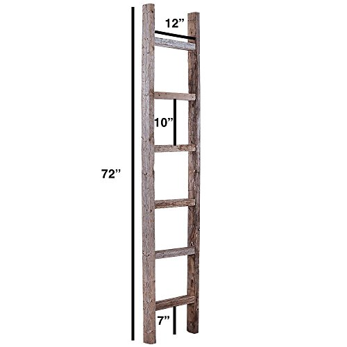 BarnwoodUSA Rustic Farmhouse Decorative Ladder - Our 6ft 2x3 Ladder can be Mounted Horizontally or Vertically | Crafted from 100% Recycled and Reclaimed Wood | No Assembly Required | Weathered Gray