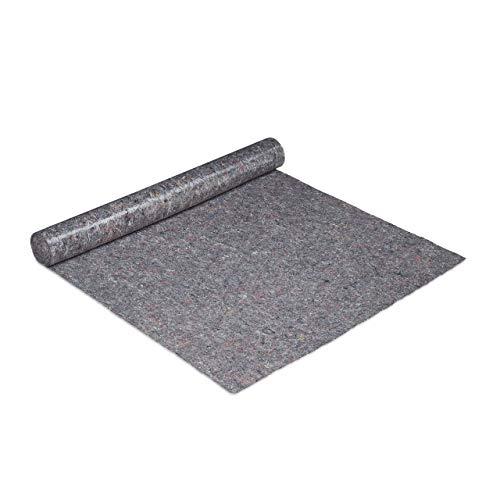 Relaxdays Malervlies, Abdeckvlies Rolle, 1 m x 10 m = 10m², rutschfest, wasserabweisend, 270g/m², Streichen, Umzug, grau