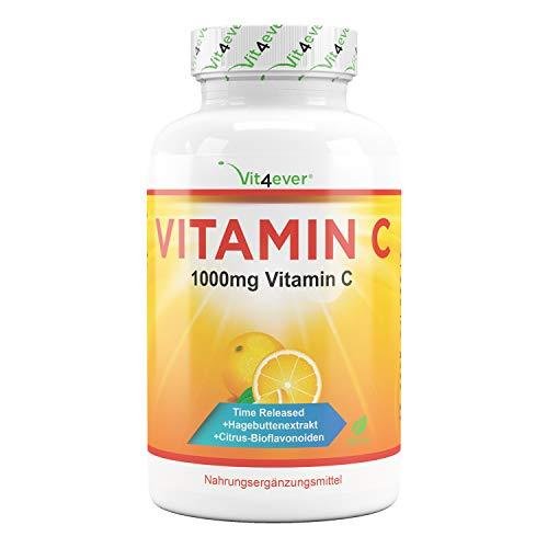 Vitamina C 1000mg - 365 tabletas en un año - Efecto retardado - Probado en laboratorio - Vitamina C + extracto de rosa mosqueta + bioflavonoides cítricos - Vegano - Altamente dosificado