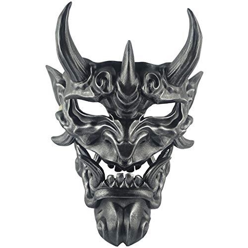 QWEASZER Japanese Red Hannya mask Halloween Horror devil Cosplay Mask Buddhism Prajna Ghost Traditional Theme Party Resin Mask Art craft Crafts Hanging ornament,Black-OneSize