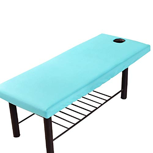 Massage Table Sheet, Massage Bed Cover with Face Hole,Salon SPA Cover Elastic Cord Edge All-round Wrap Professional Soft Beauty Massage Bed Sheet (Blue)