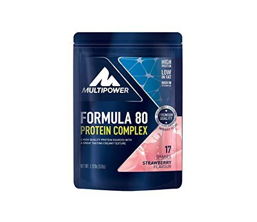 Multipower Formula 80 Protein Complex – Mehrkomponenten Protein Pulver für den Muskelaufbau – Proteinpulver mit Casein für eine langfristige Versorgung – mit cremigem Erdbeer-Geschmack – 510 g